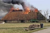 VIDEO/FOTO Grote boerderijbrand aan de Gaestdyk in Tjerkgaast