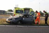 Twee gewonden bij eenzijdig ongeval op A7 Heerenveen