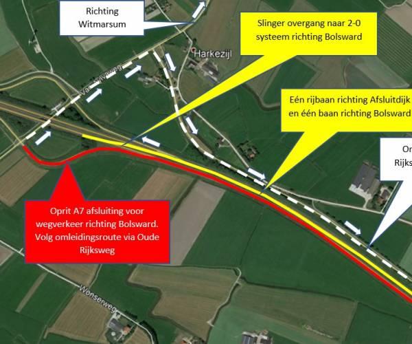 Werkzaamheden vanaf 5 juni tot en met eind juli langs de A7